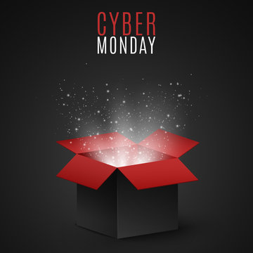 Black and red magic box for sale on cyber Monday. Flying light particles and dust on a dark background. Special offer. Super sale. Vector
