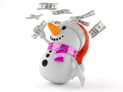 Snowman character with money