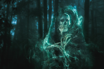 scary ghost lurking in the woods / high contrast image Wall mural