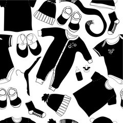 illustration of scandinavian seamless baby pattern. Black and white graphic. Hand drawn clothes. Infant cap, body, t-shirt, shoes in flat lay style.