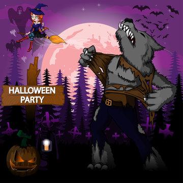 Halloween Party Design template with werewolf