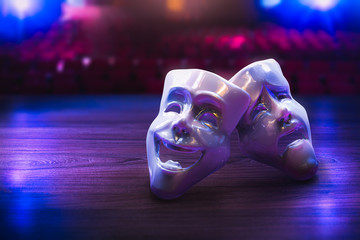 Theater masks on a stage floor / 3D Rendering, Mixed media.