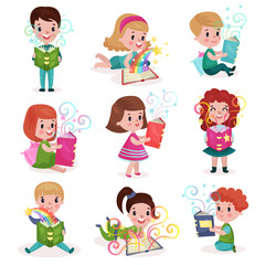 Cute little boys and girls reading fairytale books set, kids imagination concept colorful cartoon vector Illustrations