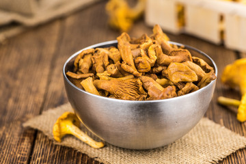 Portion of Preserved chanterelles, selective focus