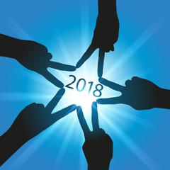 2018 - carte de vœux - succès - réussite - équipe -union - entreprise - étoile - main - carré