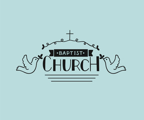 Church logo with hand lettering and cross and pigeons.
