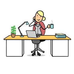 Frau telefoniert am Arbeitsplatz mit Smartphone