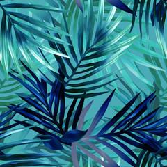 Palm leaves seamless pattern.