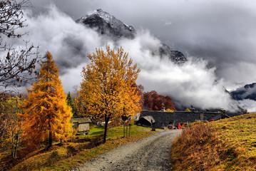 Autumn Alpine landscape with clouds and fog