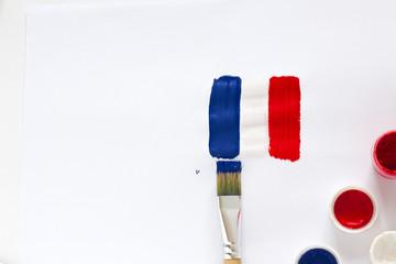 Brushstroke Flag of France on white background