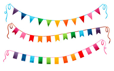 Watercolor painting colorful flags garland isolated on white background.Rainbow color flag garland,bright buntings garlands illustration for invitation card design,carnival, greetings,event backdrop.
