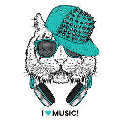 Tiger in glasses, a cap and headphones. Vector illustration. The animal is a hipster. Music, fashion and style. Print on clothes, postcard and printed products.