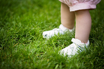 Baby's legs on the grass - first baby steps