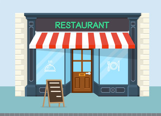 Facade of restaurant vector flat design