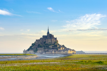 Le Mont-Saint-Michel at suise, UNESCO World Heritage Site, Manche Department, Normandy, France, Europe