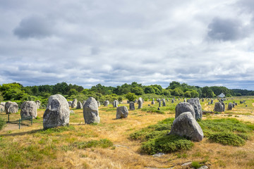 Neolithic standing stones at Alignements de Carnac (Carnac Stones), Alignements de Menec, Carnac, Morbihan, Brittany, France, Europe