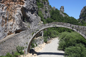 kokkori stone arched bridge Zagoria Greece