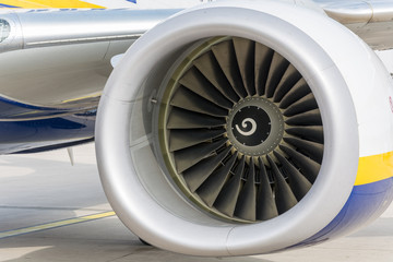 Turbine of an airplane from the front