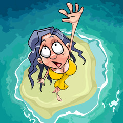 cartoon scared woman falls on the islet in the sea