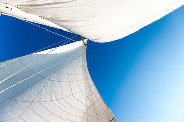 Door stickers Sailing White yacht sails in sunlight on blue cloudy sky background.