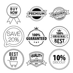 Vector set labels. Thin line art icons with flat colorful design elements. All in a single layer. Vector illustration.