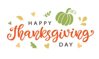 Happy Thanksgiving Day hand written lettering and doodles decor