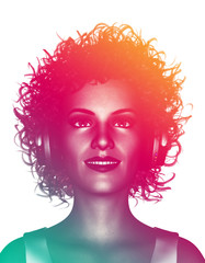 Life is colorful,3d illustration of woman in curly hairstyles listening to music