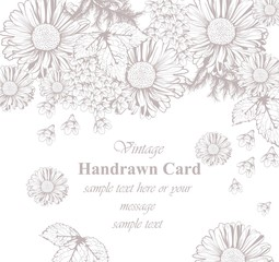 Vintage floral card line art. Beautiful background. hand drawing graphic styles