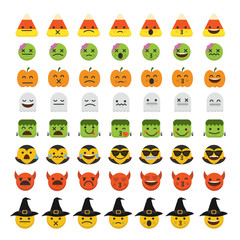 Set of emoji halloween emoticon character faces.