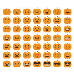 Set of emoji halloween pumpkin emoticon character faces.