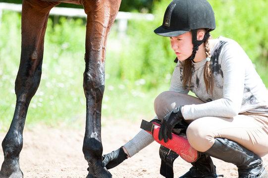 Teenage equestrian girl checking for injury of bay horse leg