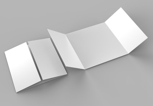 Square single open gate fold brochure, 3 panel and six pages leaflet. blank white 3d render illustration.