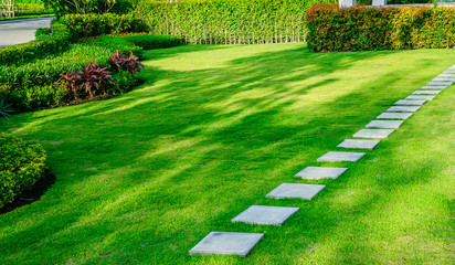 Photo sur Plexiglas Pistache Pathway in garden,green lawns with bricks pathways,garden landscape design