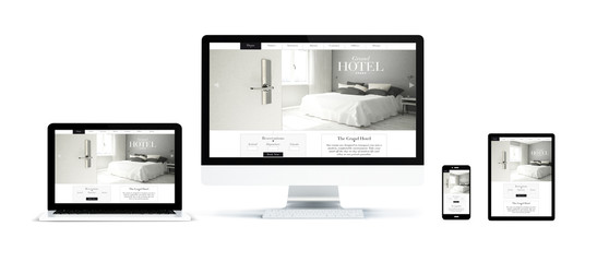 Wall Mural - realistic devices isolated with hotel landing page
