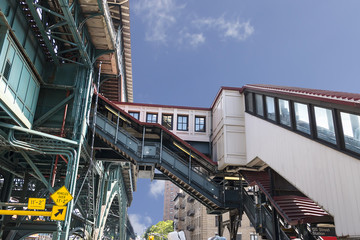 Famous stairs to 125 Street Subway Station in Harlem, New York City