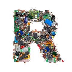 Letter R made of electronic components