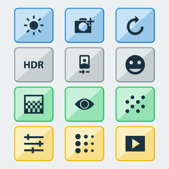 Picture Icons Set. Collection Of Reload, Shine, Chessboard And Other Elements. Also Includes Symbols Such As Camera, Front, Reload.