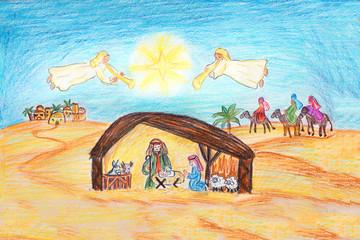 weihnachtliche Zeichnung - Krippenszene mit Engeln, Drei Weisen und Bethlehem