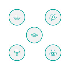 Set Of 5 Eat Outline Icons Set.Collection Of Sausage, Omelette, Porridge And Other Elements.