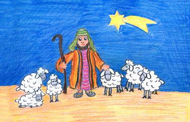 weihnachtliche Zeichnung - Hirte mit Schafherde und Komet