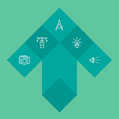 Set Of 5 Creative Outline Icons Set.Collection Of Idea, Vision, Dslr Camera And Other Elements.
