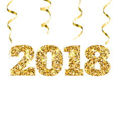 Happy new 2018 year. Gold glitter particles and sparkles. Holidays vector design element for calendar, party invitation, card, poster, banner, web