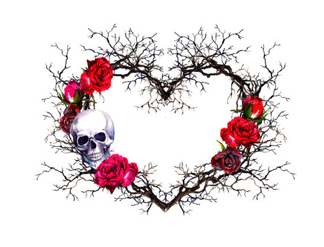 Heart shape, human skull. Twigs, rose flowers. Watercolor in grunge gothic style