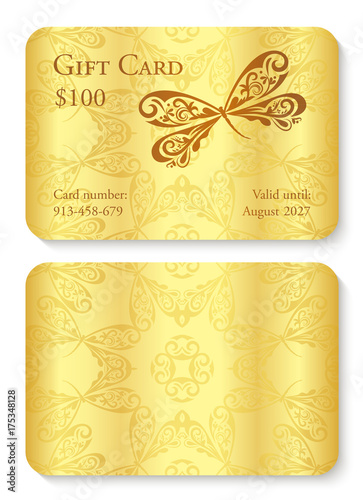luxury golden gift card with dragonfly ornament front side with