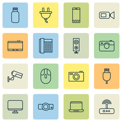 Gadget Icons Set. Collection Of Work Phone, Surveillance, Digital Camera And Other Elements. Also Includes Symbols Such As Tablet, Notebook, Electrical.
