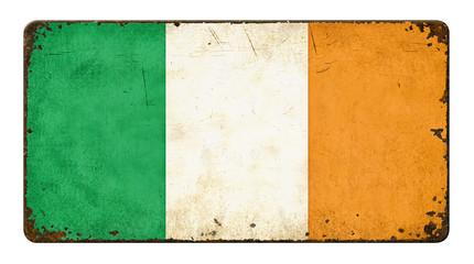 Altes verrostetes Blechschild - Flagge Irland