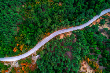 Aerial view of drone over mountain road going through forest landscape