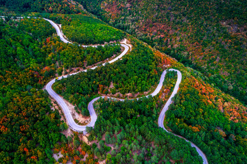 Aerial view over mountain road with many curves going through forest landscape