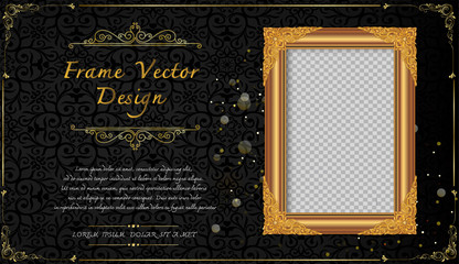 Thailand Royal gold frame on drake pattern background, Vintage photo frame on drake background, antique, vector design pattern