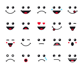 Cartoon faces expression line icons set. Set of emoticons or emoji illustration line icons. Smile icons line art isolated vector illustration on white background